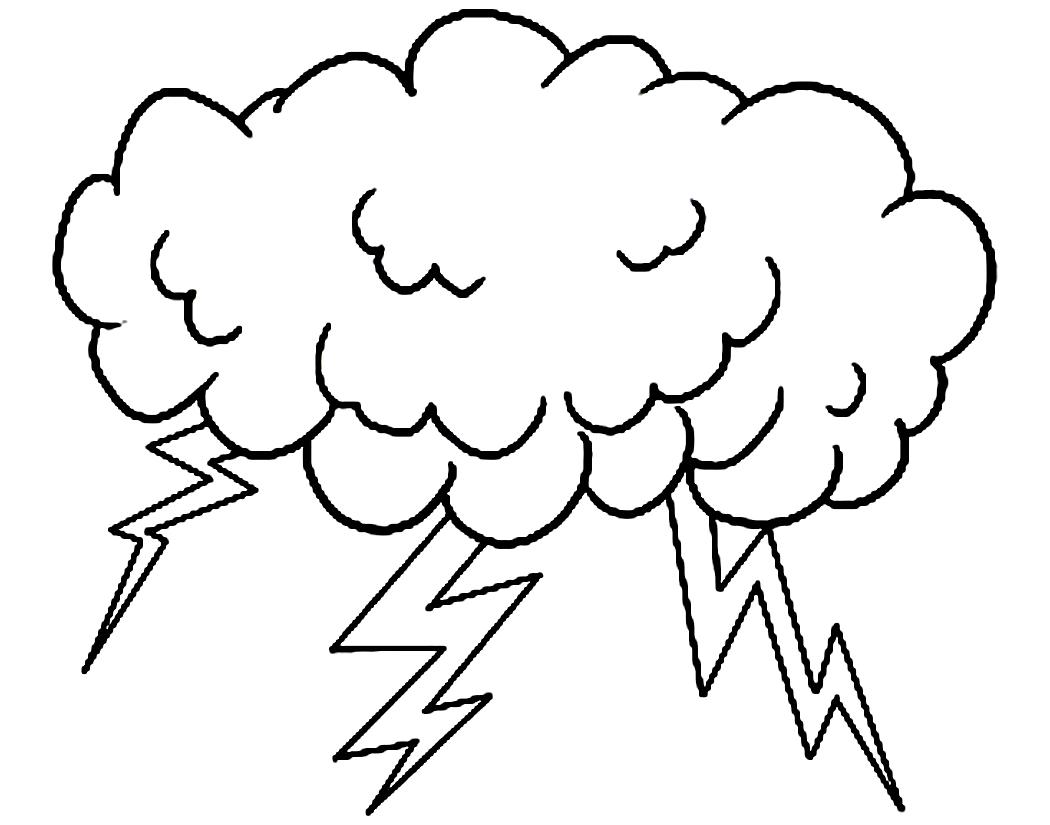 Free Color Pages Rain Cloud Clipart