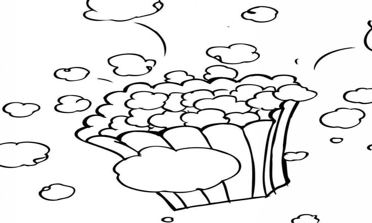 Popcorn Kernel Coloring Sheet Popcorn Kernel Coloring