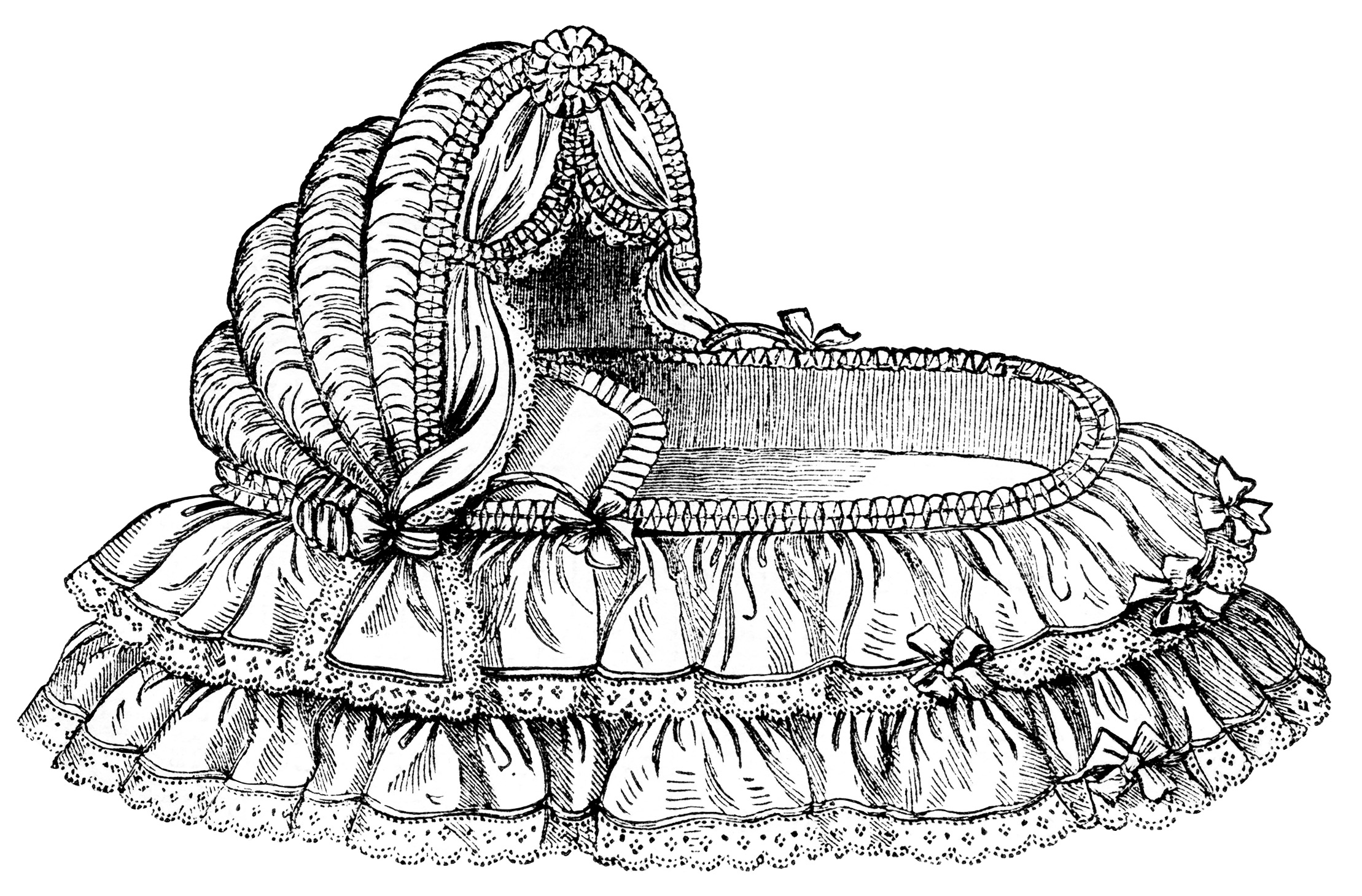 Bed Black And White Victorian Baby Bassinet Free Clip Art