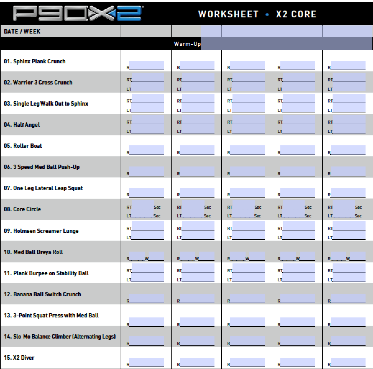 P90x Workout Schedule Lean Printable