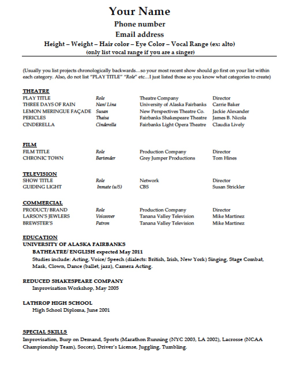 Acting Resume Acting Resume Sample No Experience Httpwwwresumecareerinfo Acting  Resume Example  Resume For Acting