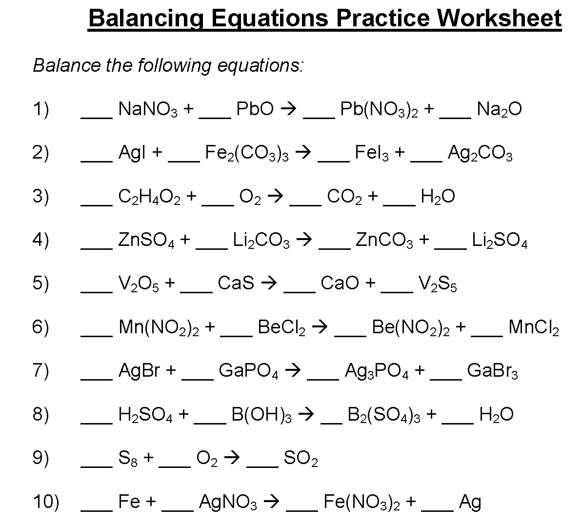 Balancing Equations Practice Worksheet Answer Key