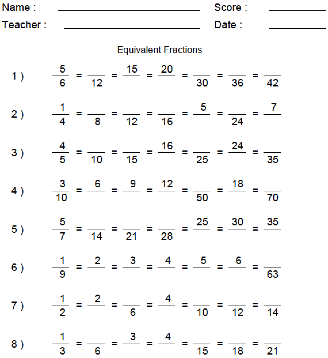 Download Equivalent Fractions Worksheet