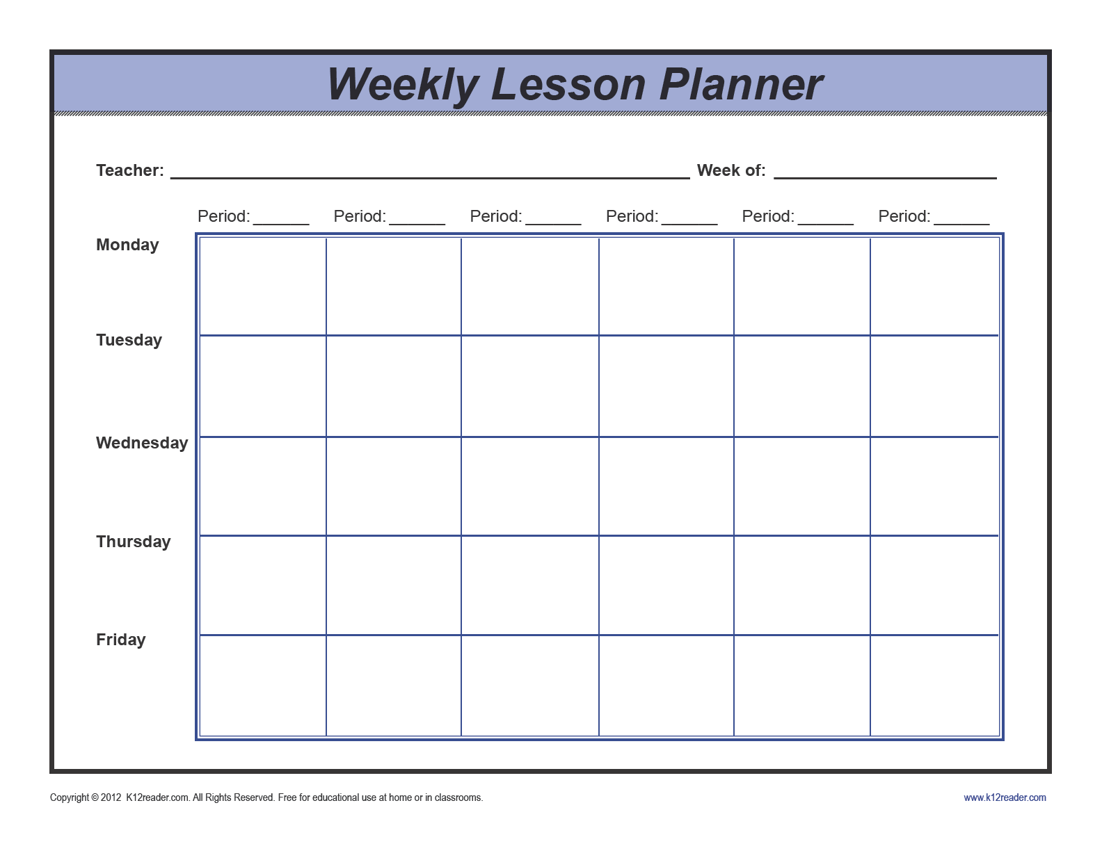 Download Weekly Lesson Plan Template