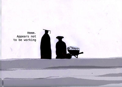 A frame from the LMS comic by Leigh Blackall