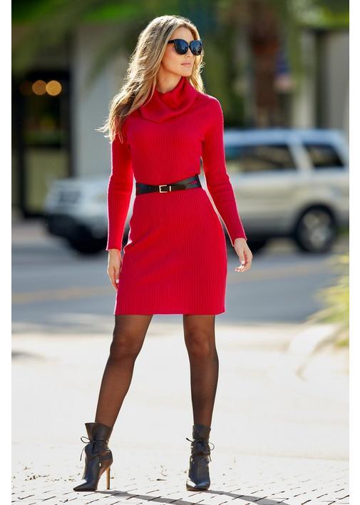 Belted Sweater Dress riva fashion