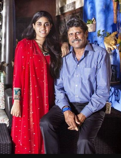 Amiya with father Kapil Dev