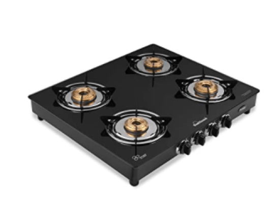 Sunflame GT Pride Glass Top Four Brass Burner Gas Stove
