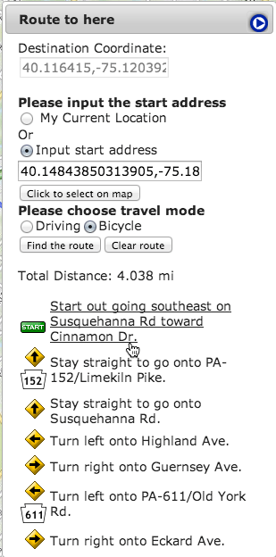 route directions