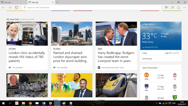 Customizable Start Page in Microsoft Edge