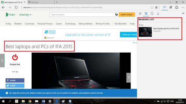 Reading list in Microsoft Edge