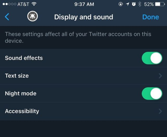 "find the Night mode under the ""display and sound"" section"