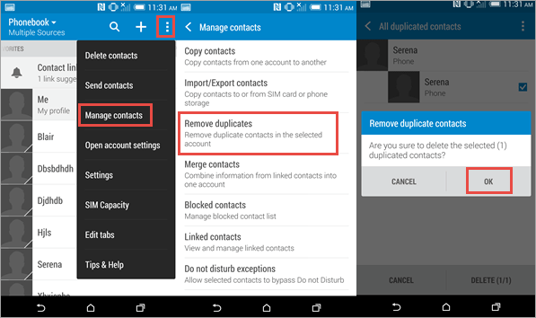 Android built-in contacts merge