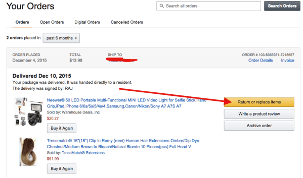 Return items purchased on amazon