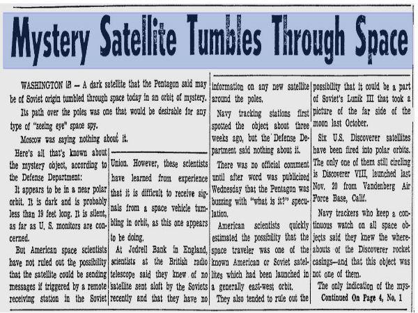 Mystery Satellite on Newspaper