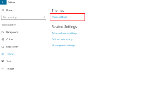 Theme Settings in Windows10