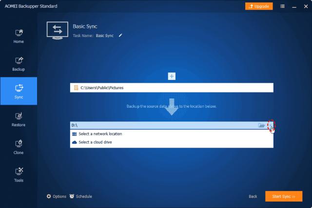 Select a cloud drive