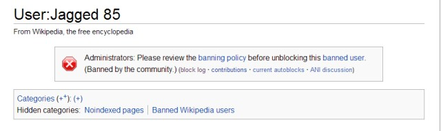 Jagged 85 was banned from Wikipedia when he was found to have misrepresented sources in video gaming articles – after a long history of similar misrepresentations in history articles.