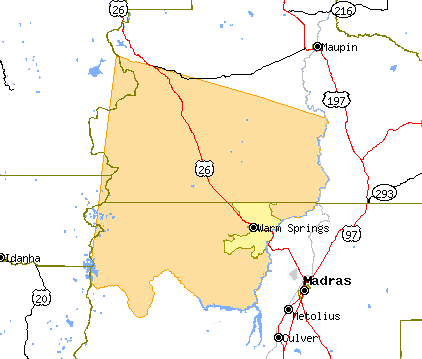 Map of the Warm Springs Indian Reservation