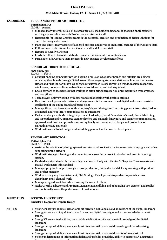 Art Director Resume  Senior Art Director Resume Samples Velvet Jobs
