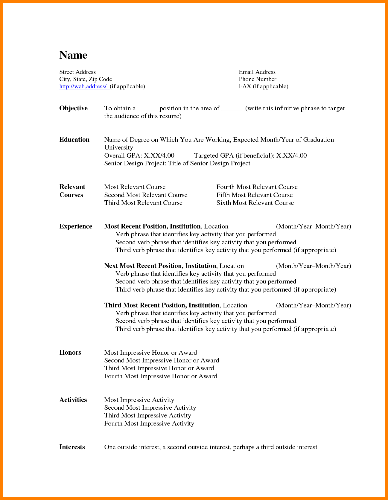 Basic Resume Template Basic Resume Templates Wudui