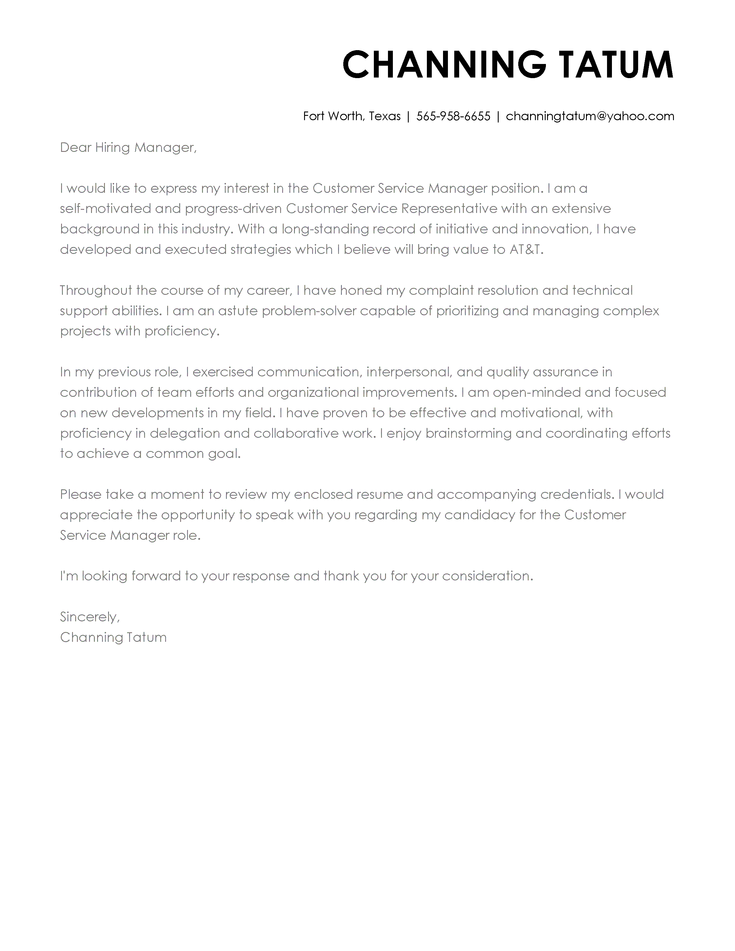Cover Letters Template  Cover Letter Templates My Perfect Cover Letter