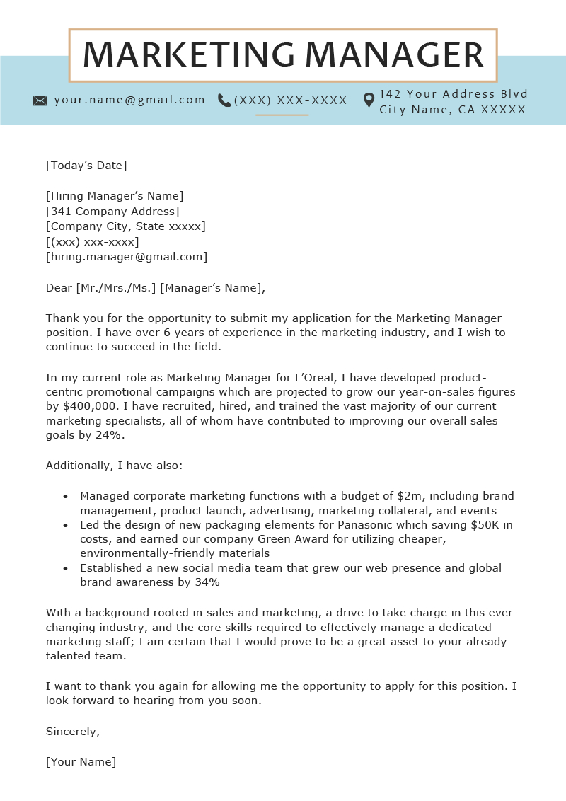 Cover Letters Template  Marketing Manager Cover Letter Sample Resume Genius