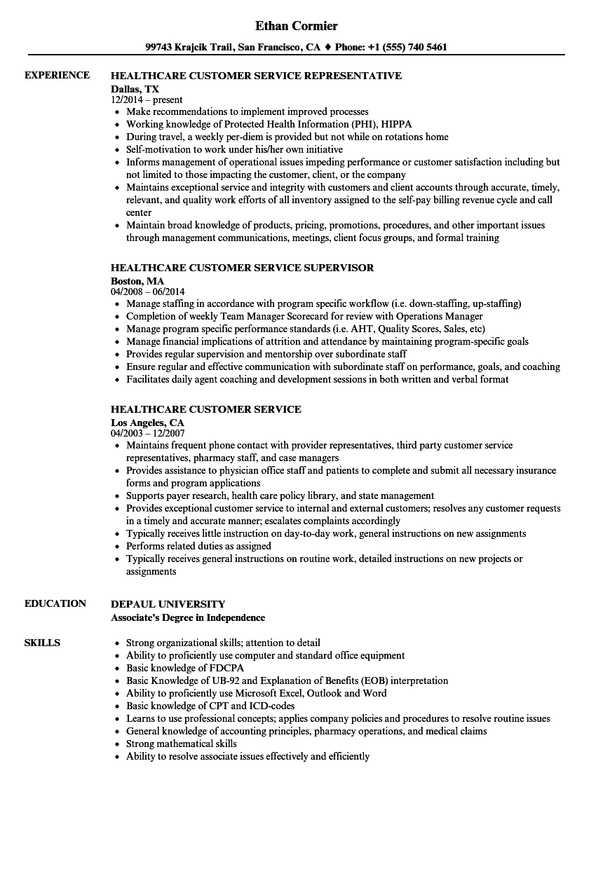 Customer Service Resume Examples Healthcare Customer Service Resume Samples Velvet Jobs