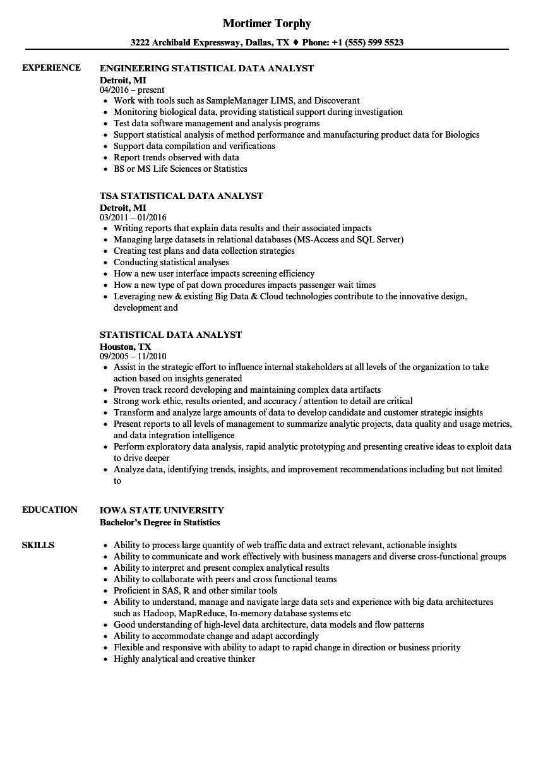Data Analyst Resume Statistical Data Analyst Resume Sample data analyst resume|wikiresume.com