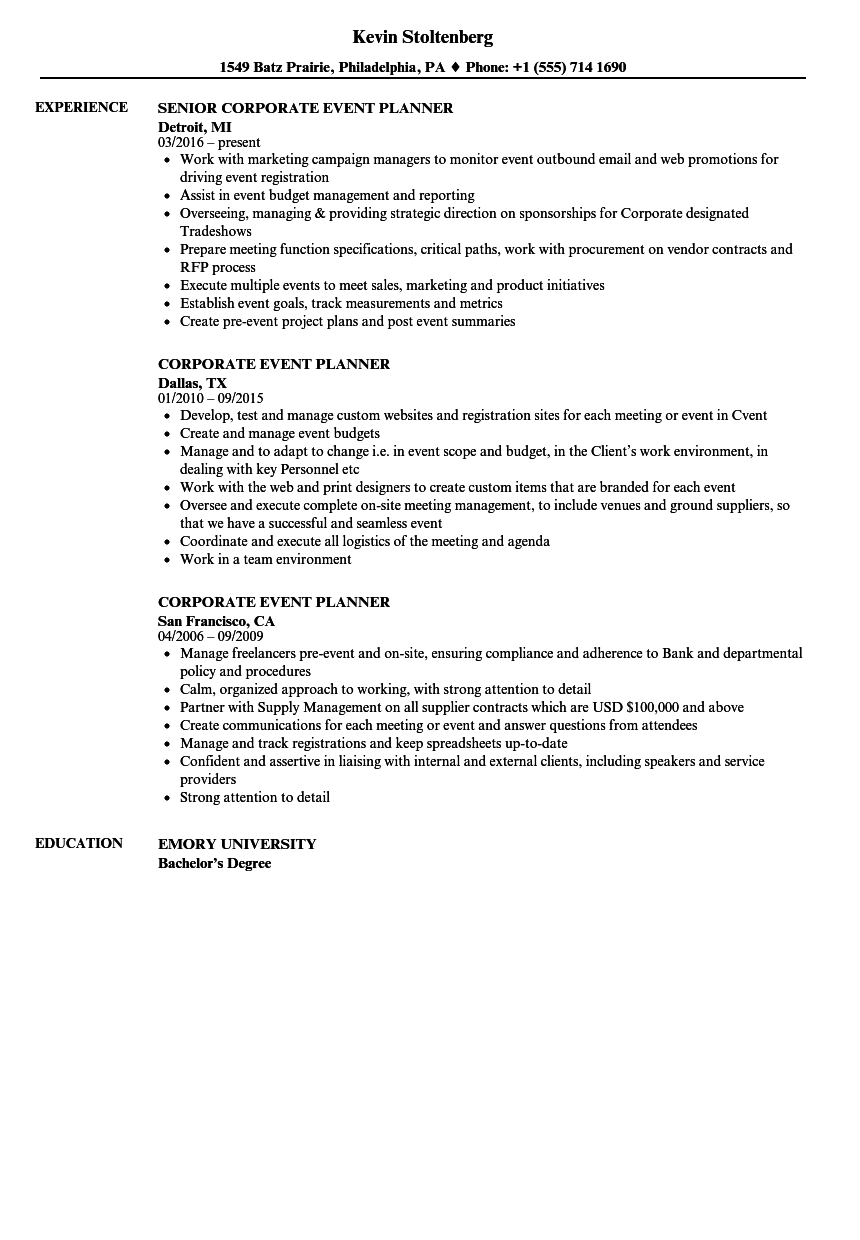 Event Planner Resume Corporate Event Planner Resume Sample event planner resume|wikiresume.com