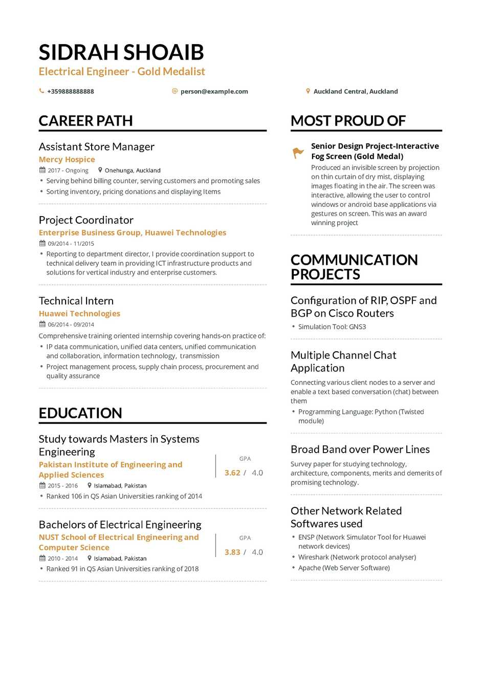 Example Of A Resume Electrical Engineering Resume example of a resume wikiresume.com