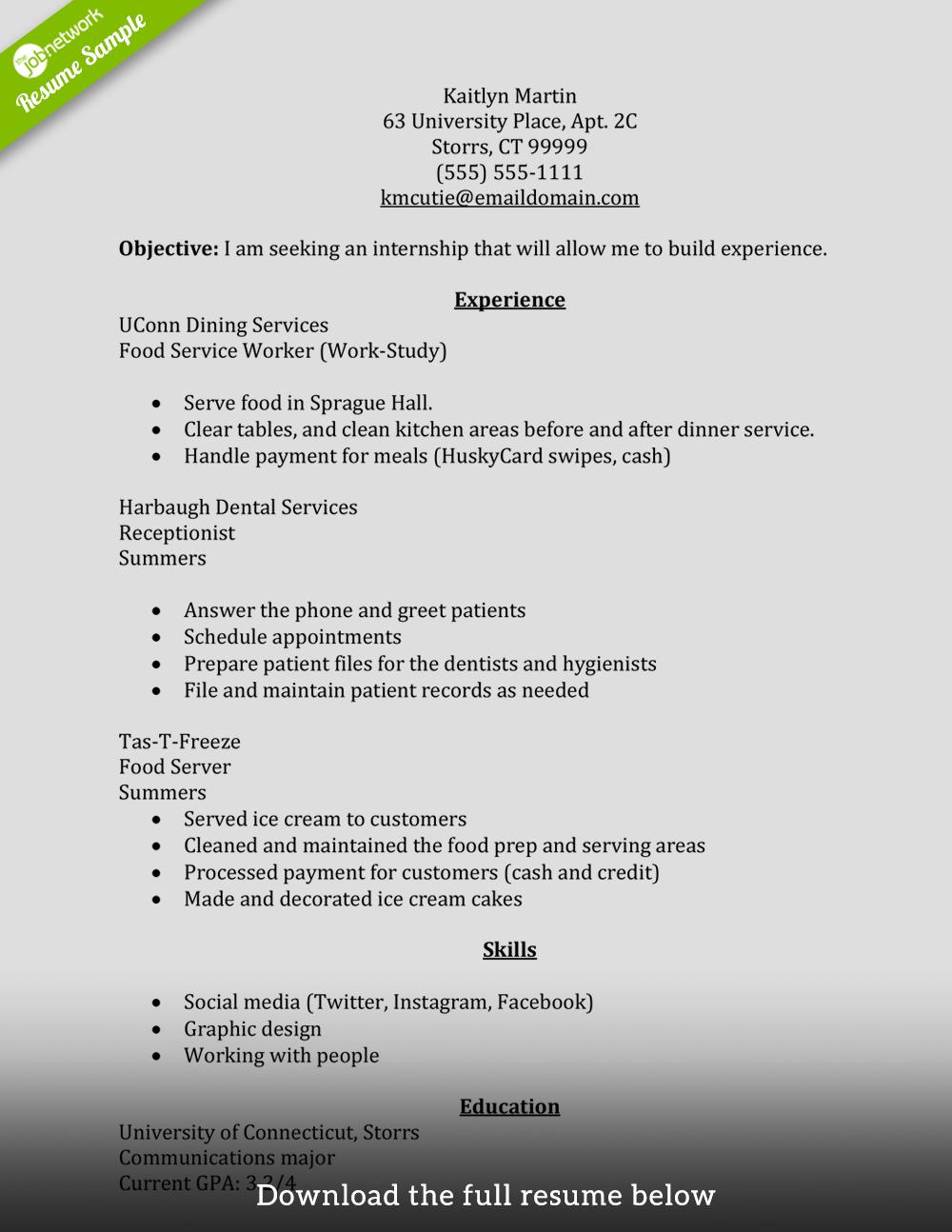 Example Of A Resume Internship Resume Summer example of a resume wikiresume.com