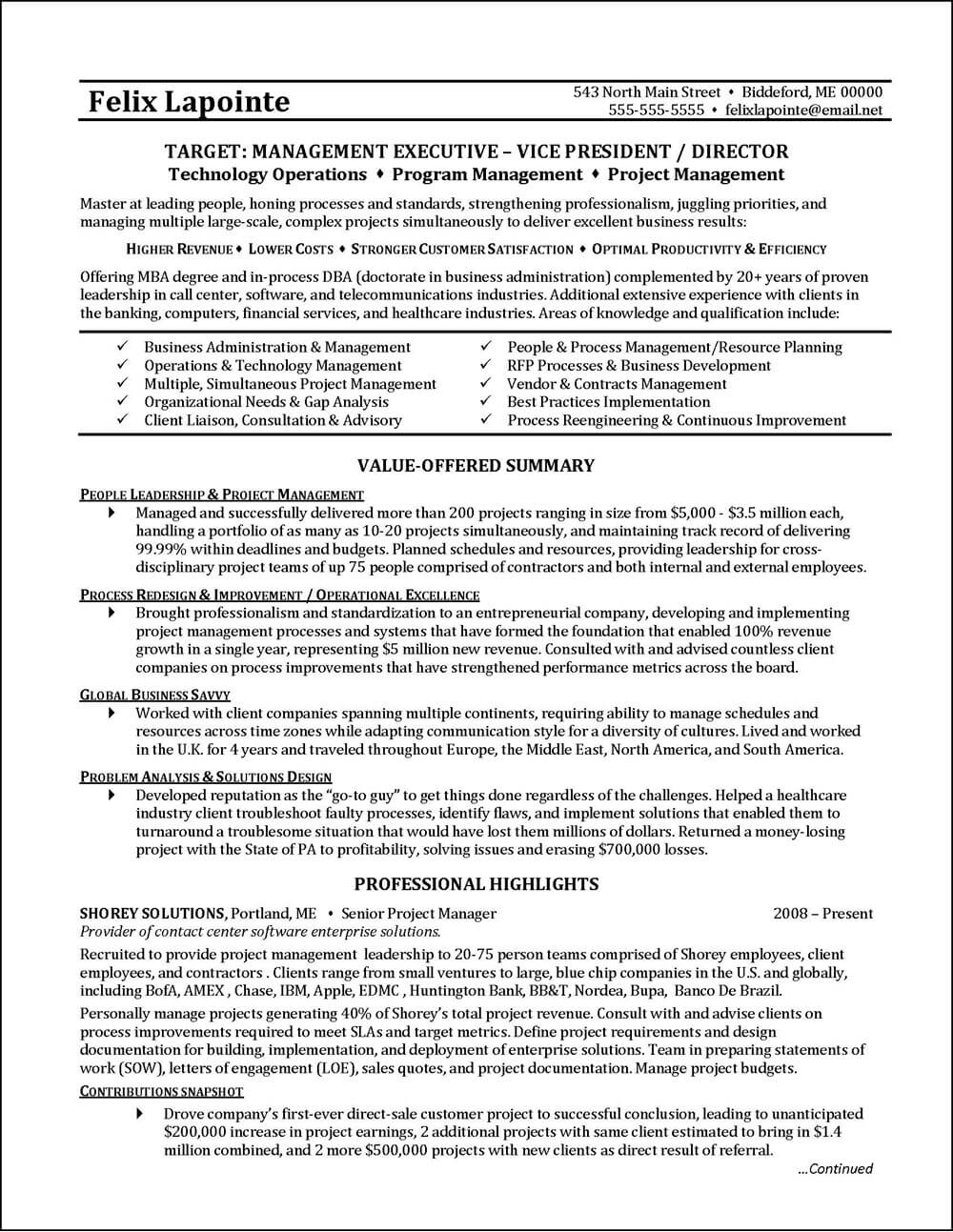 Example Of A Resume Program Manager Resume Example Page 1 example of a resume wikiresume.com