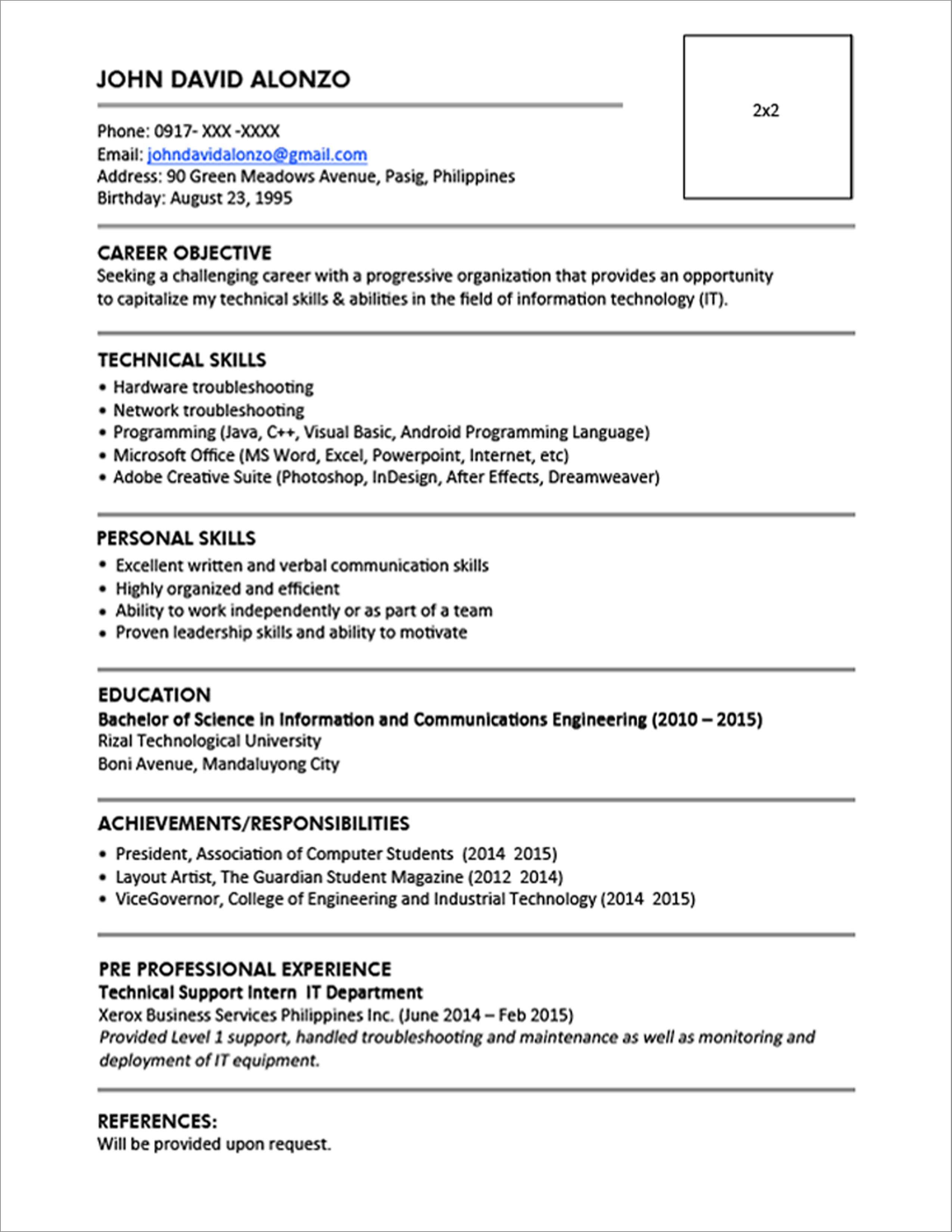 Example Of A Resume Sample Resume Format For Fresh Graduates Single Page 13 1 example of a resume wikiresume.com