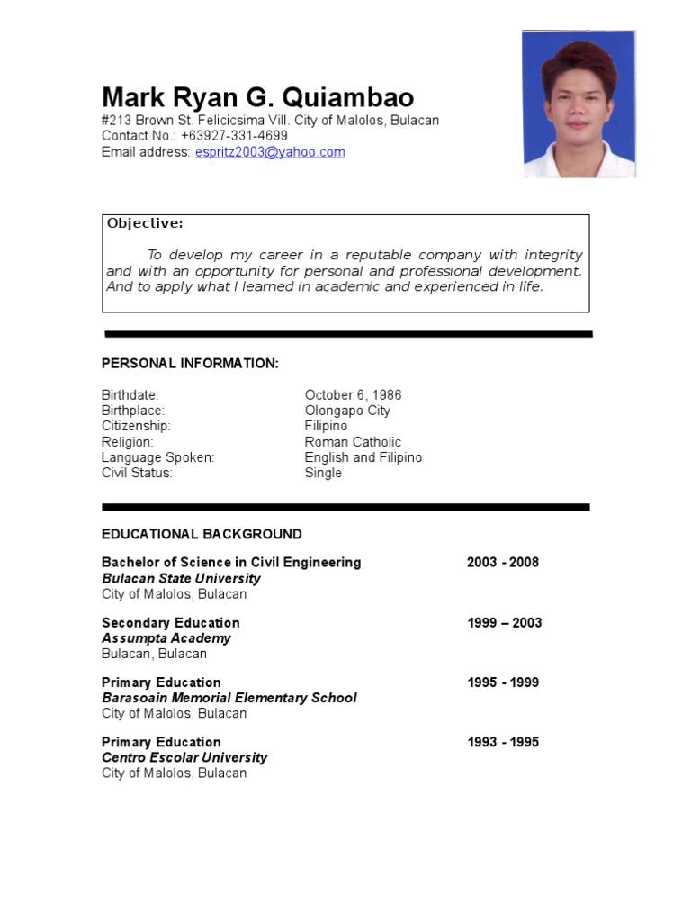 Example Of Resume Filipino Resume Sample Floating City