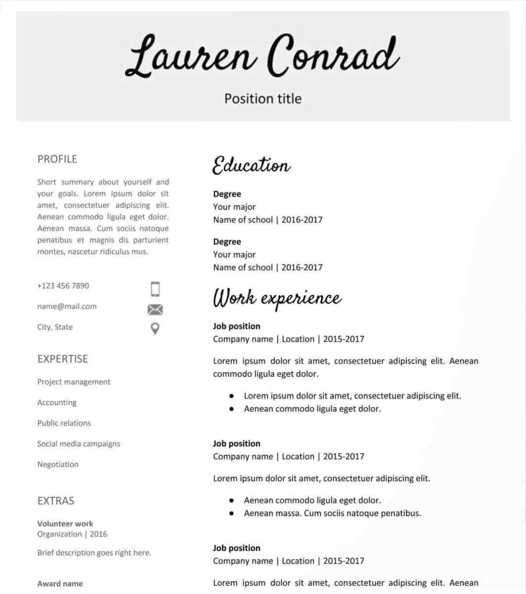 Free Resume Template Handwritten Headlines Google Docs Resume Template Free free resume template|wikiresume.com