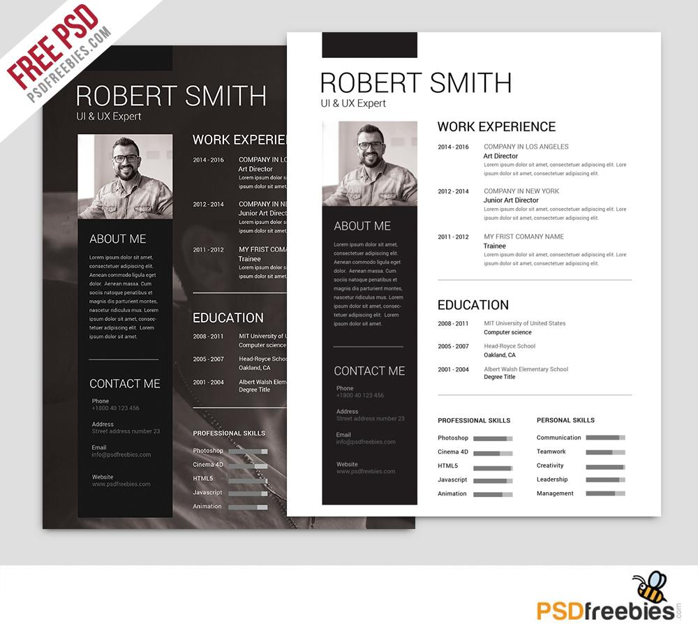 Free Resume Template Simple And Clean Resume Free Psd Template M 1024x1024 free resume template|wikiresume.com