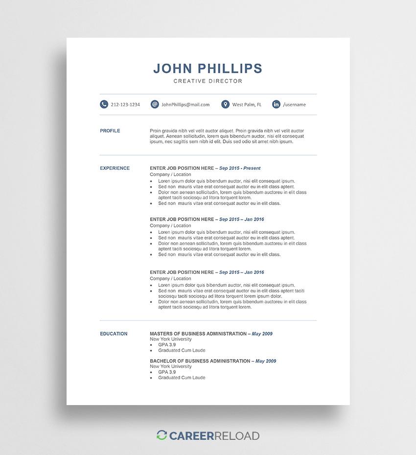 Free Resume Template Word Resume Template John 01 free resume template|wikiresume.com