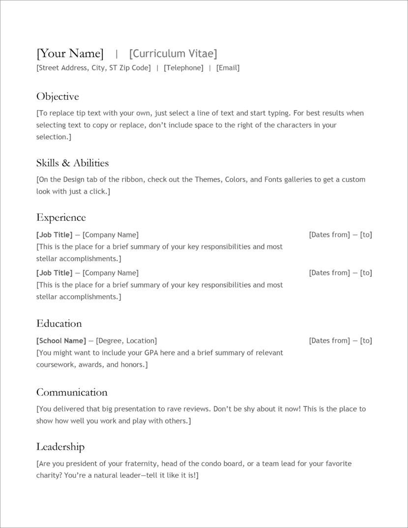 Free Resume Templates Microsoft Word Microsoft Cv Resume Template 02 830x1074 free resume templates microsoft word|wikiresume.com