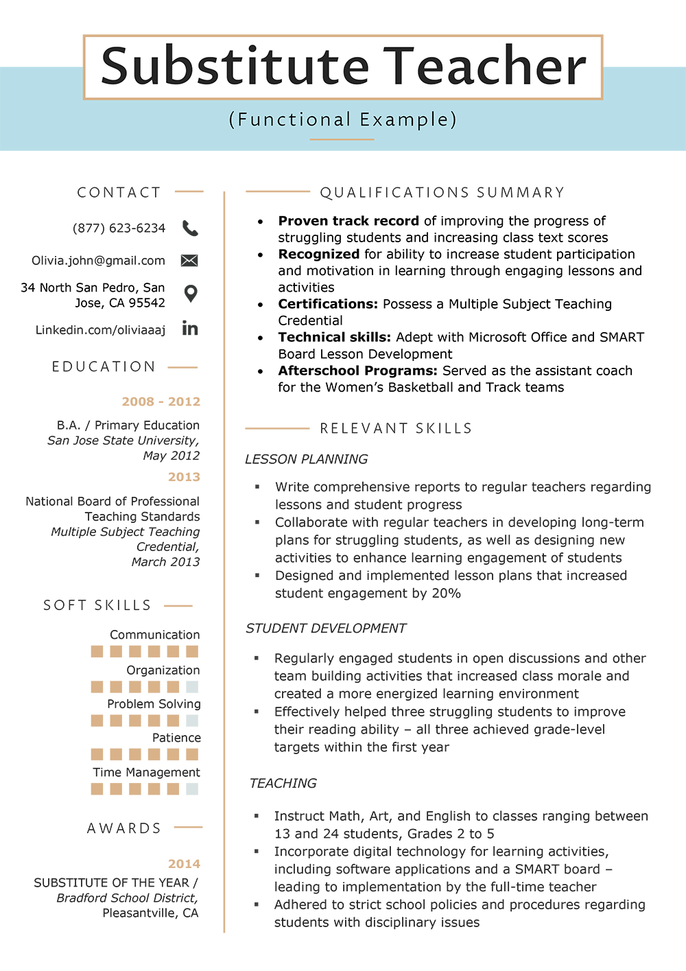 Functional Resume Template Functional Substitute Teacher Resume Sample functional resume template|wikiresume.com