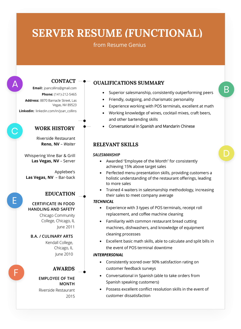 Functional Resume Template Htw Functional Server Resume Example functional resume template|wikiresume.com