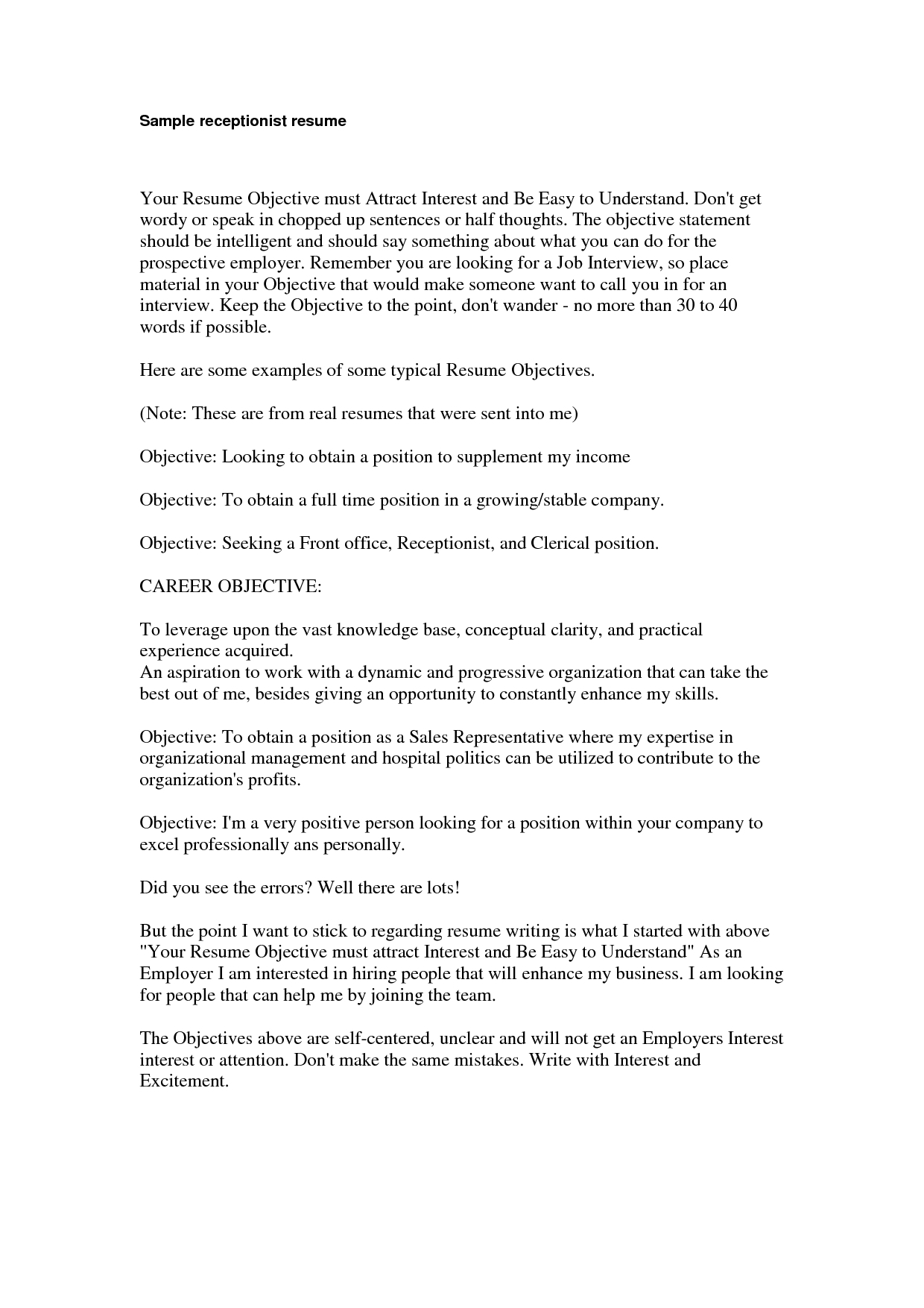 Good Objective For Resume Extraordinary Good Receptionist Resumes For Your Marvellous Design Receptionist Resume Objective 16 Spa Examples We Of Good Receptionist Resumes good objective for resume wikiresume.com
