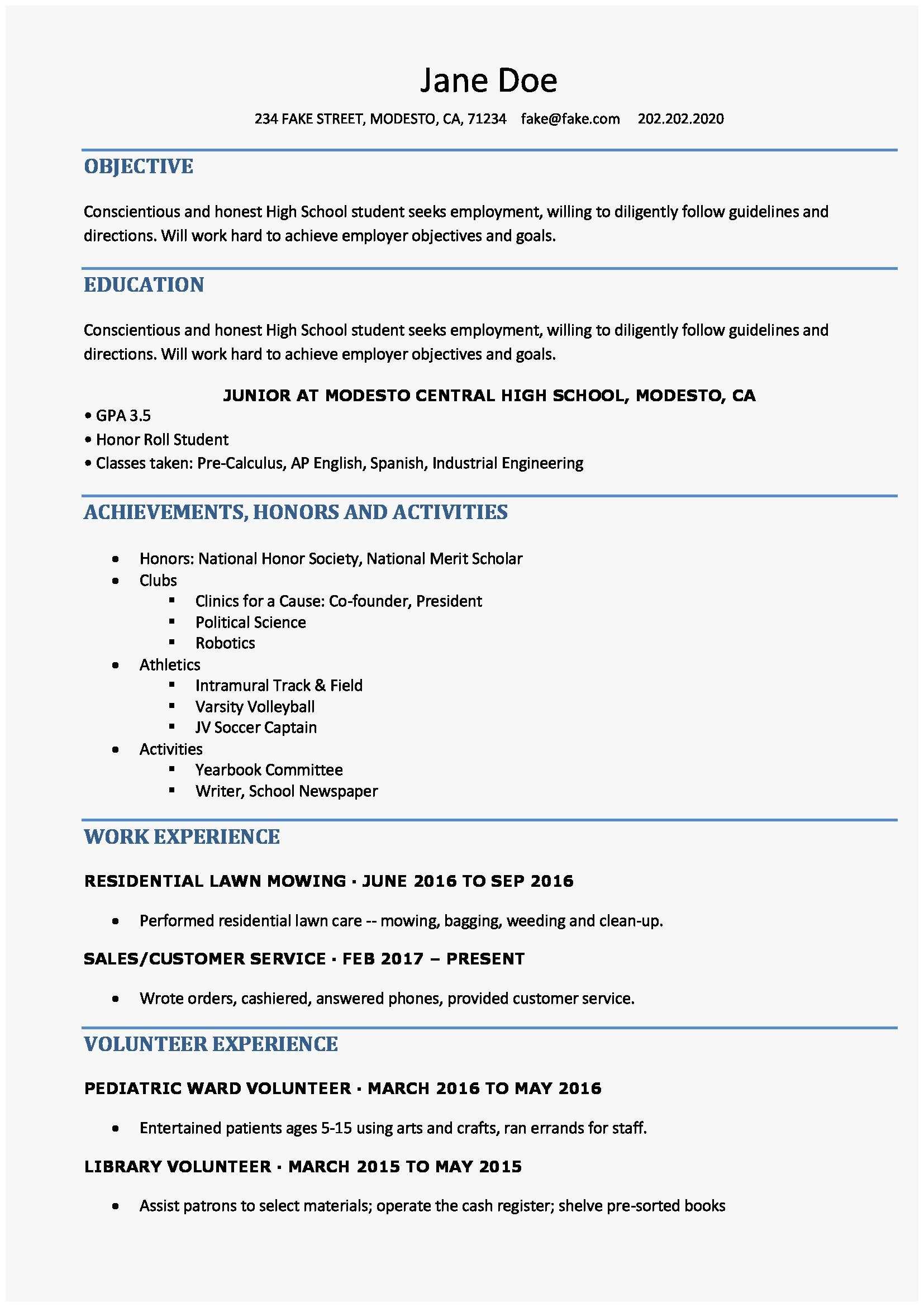 High School Resume High School Resume For College Cute High School Resume High School Resume Templates Of High School Resume For College high school resume|wikiresume.com