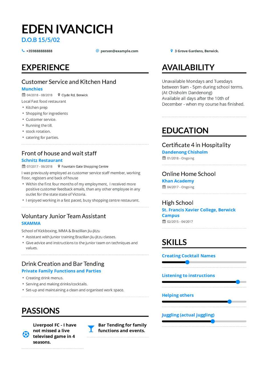 High School Resume Resume Examples For Teens high school resume|wikiresume.com