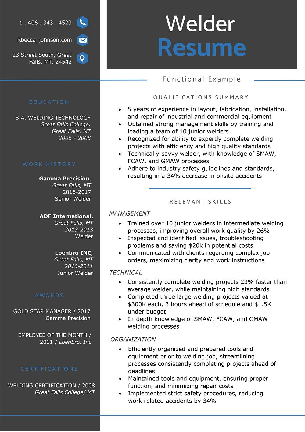 How To Write Resume Functional Welder Resume Sample how to write resume|wikiresume.com