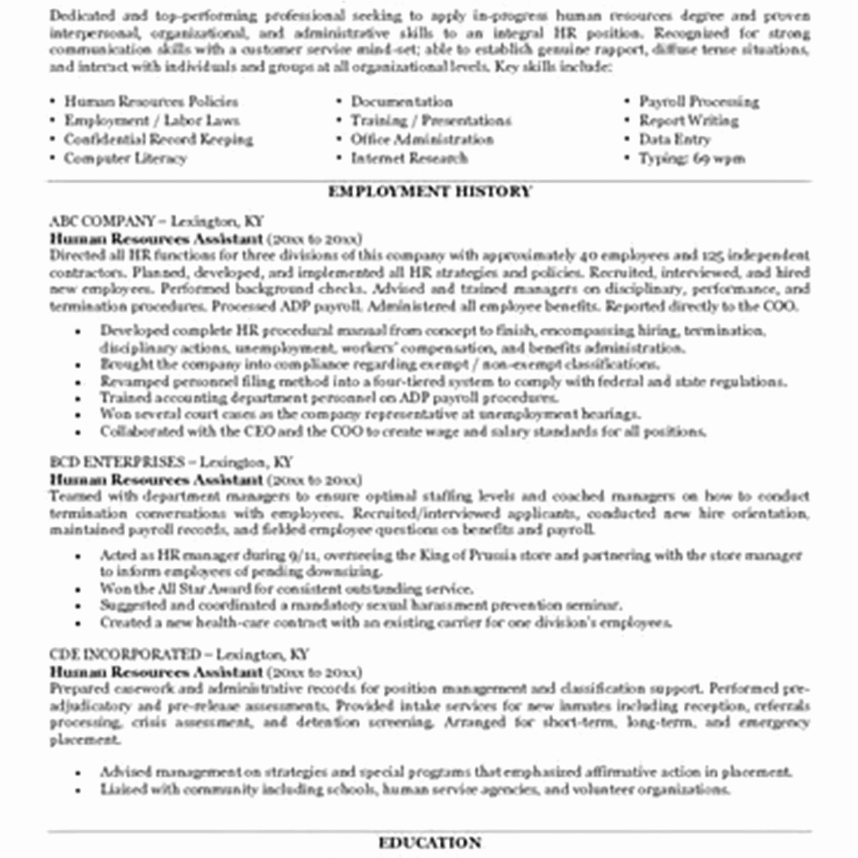 Human Resources Resume Entry Level Humanourcesume Sample Generalist Objective human resources resume|wikiresume.com