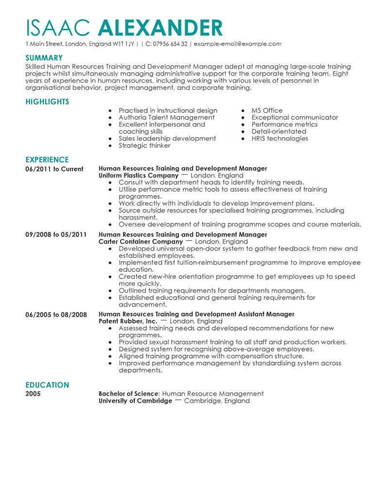 Human Resources Resume Training And Development Human Resources Contemporary human resources resume|wikiresume.com