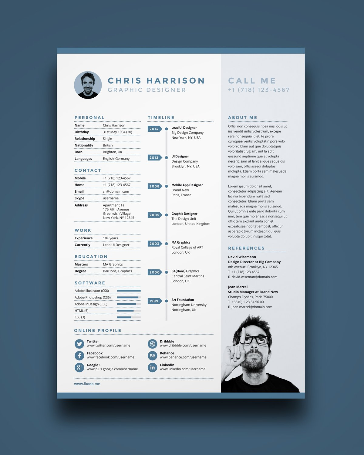 Indesign Resume Template Free Resume A4 Ikonome indesign resume template|wikiresume.com