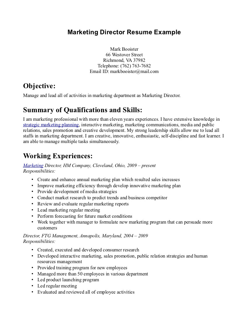 Marketing Resume Examples  Resume Examples Marketing Objective Of Within Objectives Floating