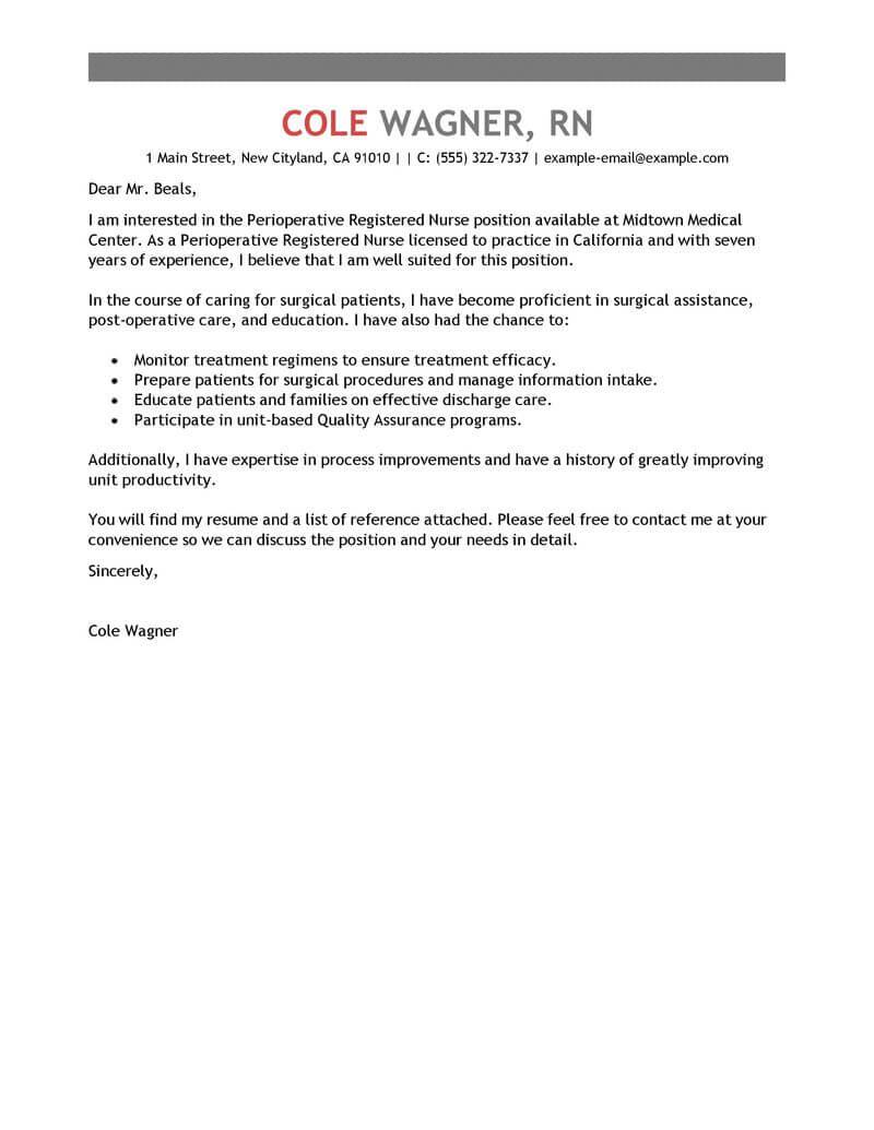 Nurse Cover Letter Healthcare Perioperative Nurse Emphasis 800x1035 nurse cover letter|wikiresume.com